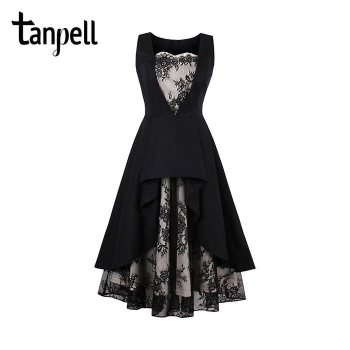 10635a62e Tanpell Lace Homecoming Dress Black Vintage Sleeveless Tea Length A Line  Dress Women Party-Homecoming