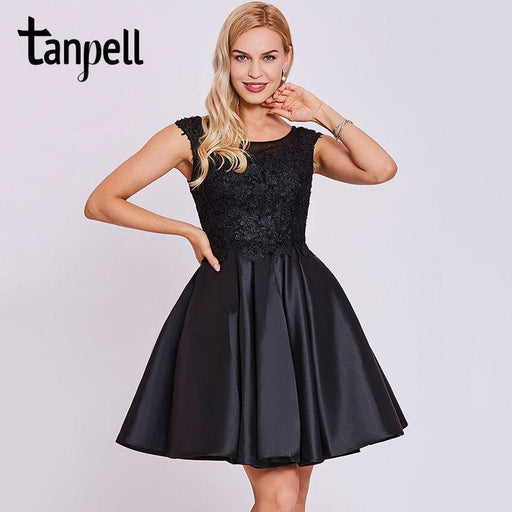 d0b27aec9d Tanpell Short Homecoming Dress Black Scoop Cap Sleeves Above Knee A Line Gown  Cheap Appliques Lace