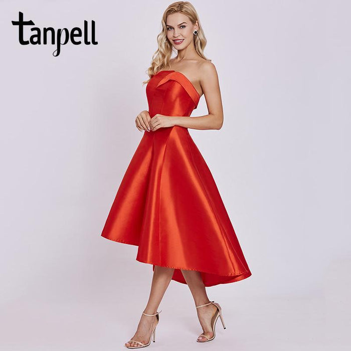 cb8f01cef0ece Tanpell Short Homecoming Dress Red Draped Sleeveless Knee Length Asymmetry  Dress Lady Strapless