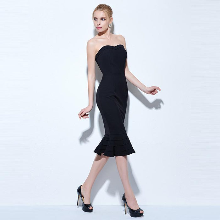 736b7c83436ba Tanpell Strapless Cocktail Dress Black Sleeveless Knee Length Mermaid Gown  Women Hourglass Party
