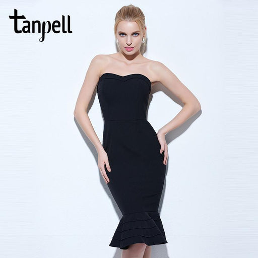 Tanpell Strapless Cocktail Dress Black Sleeveless Knee Length Mermaid Gown  Women Hourglass Party-Cocktail Dresses 623d9890c401