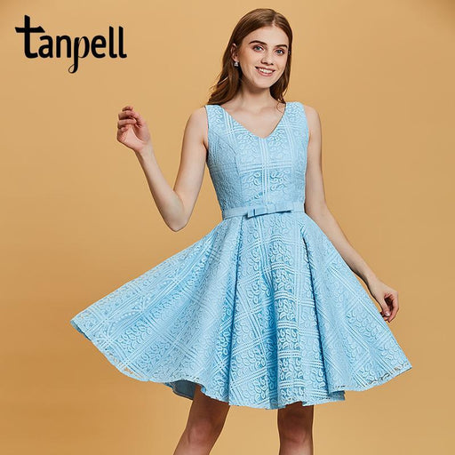 Tanpell V Neck Homecoming Dresses Cheap Blue Sleeveless Above Knee A Line Gown  Women Lace Ruched 786821c59562