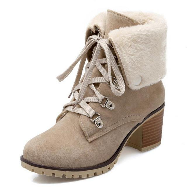 245eb257839 Taoffen Size 34-43 Ladies Thick Fur Ankle Boots Women High Heels ...