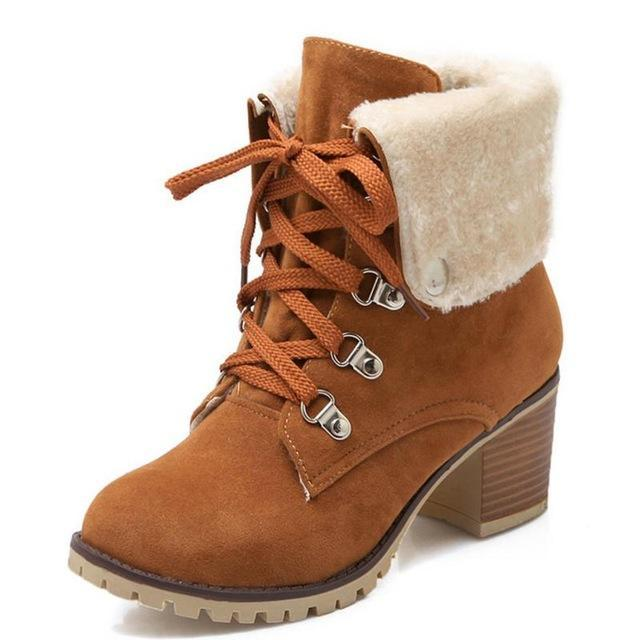 fa732ef1ec Taoffen Size 34-43 Ladies Thick Fur Ankle Boots Women High Heels Short  Boots With