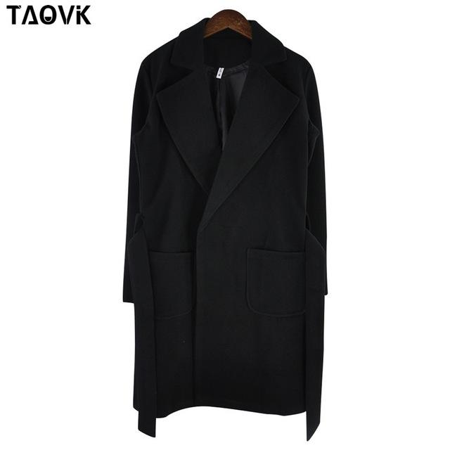 Taovk Women Woolen Long Sleeve Medium-Long Notched Collar Open Front Parka Belt Coat-Jackets & Coats-Shop2221160 Store-Black-S-EpicWorldStore.com