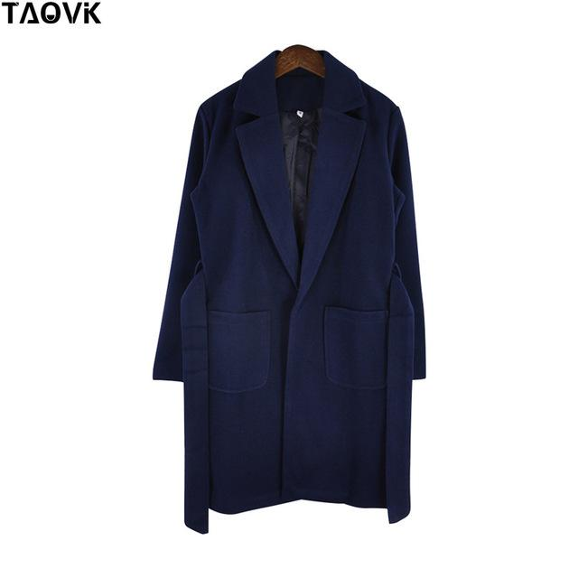 Taovk Women Woolen Long Sleeve Medium-Long Notched Collar Open Front Parka Belt Coat-Jackets & Coats-Shop2221160 Store-Blue-S-EpicWorldStore.com