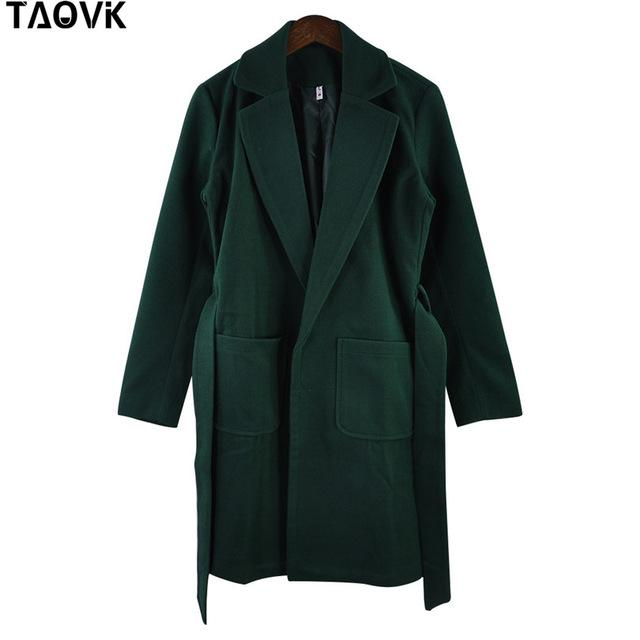 Taovk Women Woolen Long Sleeve Medium-Long Notched Collar Open Front Parka Belt Coat-Jackets & Coats-Shop2221160 Store-Green-S-EpicWorldStore.com