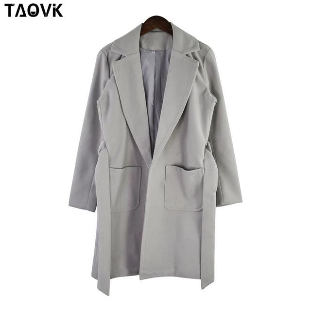 Taovk Women Woolen Long Sleeve Medium-Long Notched Collar Open Front Parka Belt Coat-Jackets & Coats-Shop2221160 Store-Grey-S-EpicWorldStore.com