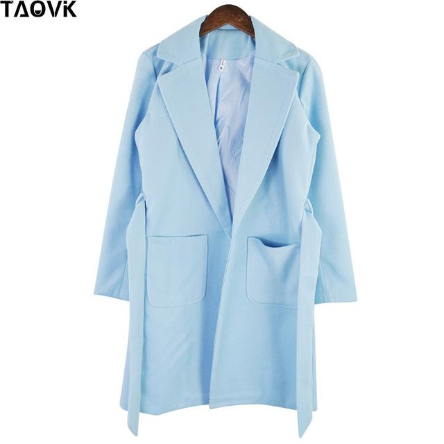 Taovk Women Woolen Long Sleeve Medium-Long Notched Collar Open Front Parka Belt Coat-Jackets & Coats-Shop2221160 Store-Light Blue-S-EpicWorldStore.com