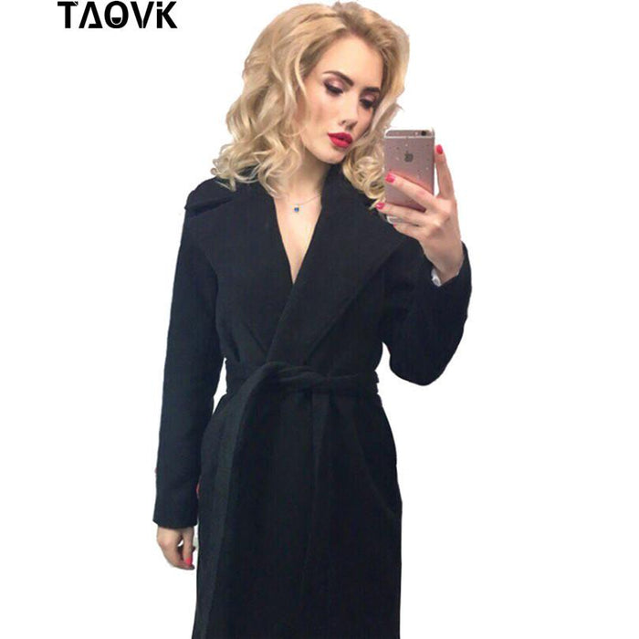 Taovk Women Woolen Long Sleeve Medium-Long Notched Collar Open Front Parka Belt Coat-Jackets & Coats-Shop2221160 Store-Naked Color-S-EpicWorldStore.com