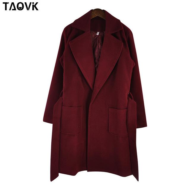 Taovk Women Woolen Long Sleeve Medium-Long Notched Collar Open Front Parka Belt Coat-Jackets & Coats-Shop2221160 Store-Wine Red-S-EpicWorldStore.com