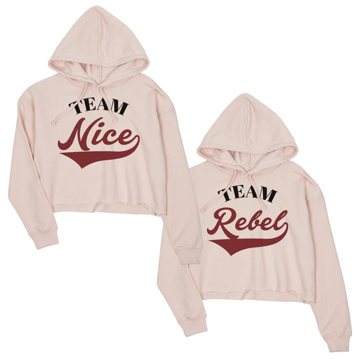 07eef847cf Team Nice Team Rebel Bff Matching Crop Hoodies For Christmas Gift-Apparel &  Accessories-