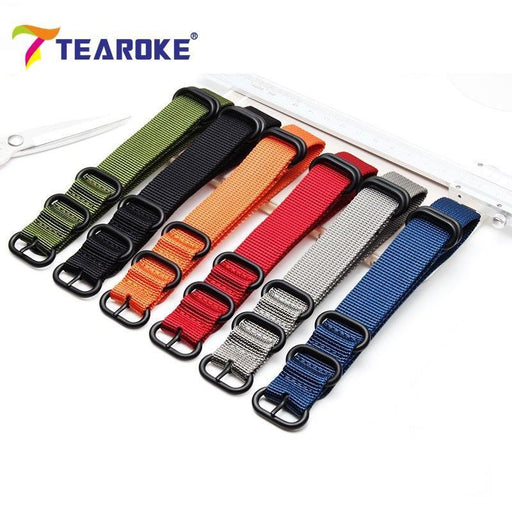 Tearoke Heavy Duty Nylon Nato Watchband Strap 18Mm 20Mm 22Mm 24Mm Watch Band Zulu Strap Stainless-Watch Accessories-Tearoker Store-Orange002-18mm-EpicWorldStore.com