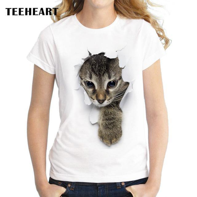 Teeheart Summer Naughty Cat 3D Lovely T Shirt Women Printing Originality O-Neck Short Sleeve-Tops & Tees-TEEHEART Store-za056-S-EpicWorldStore.com