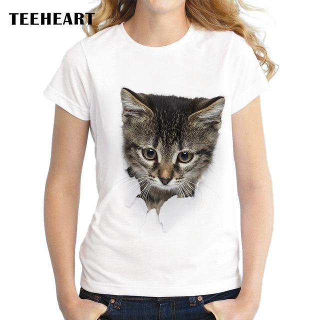 Teeheart Summer Naughty Cat 3D Lovely T Shirt Women Printing Originality O-Neck Short Sleeve-Tops & Tees-TEEHEART Store-za057-S-EpicWorldStore.com