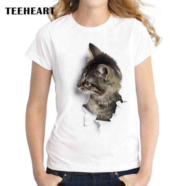 Teeheart Summer Naughty Cat 3D Lovely T Shirt Women Printing Originality O-Neck Short Sleeve-Tops & Tees-TEEHEART Store-za058-S-EpicWorldStore.com