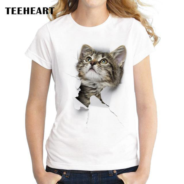 Teeheart Summer Naughty Cat 3D Lovely T Shirt Women Printing Originality O-Neck Short Sleeve-Tops & Tees-TEEHEART Store-za059-S-EpicWorldStore.com