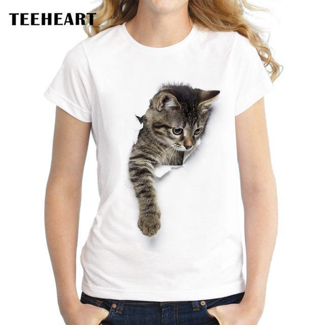 Teeheart Summer Naughty Cat 3D Lovely T Shirt Women Printing Originality O-Neck Short Sleeve-Tops & Tees-TEEHEART Store-za060-S-EpicWorldStore.com