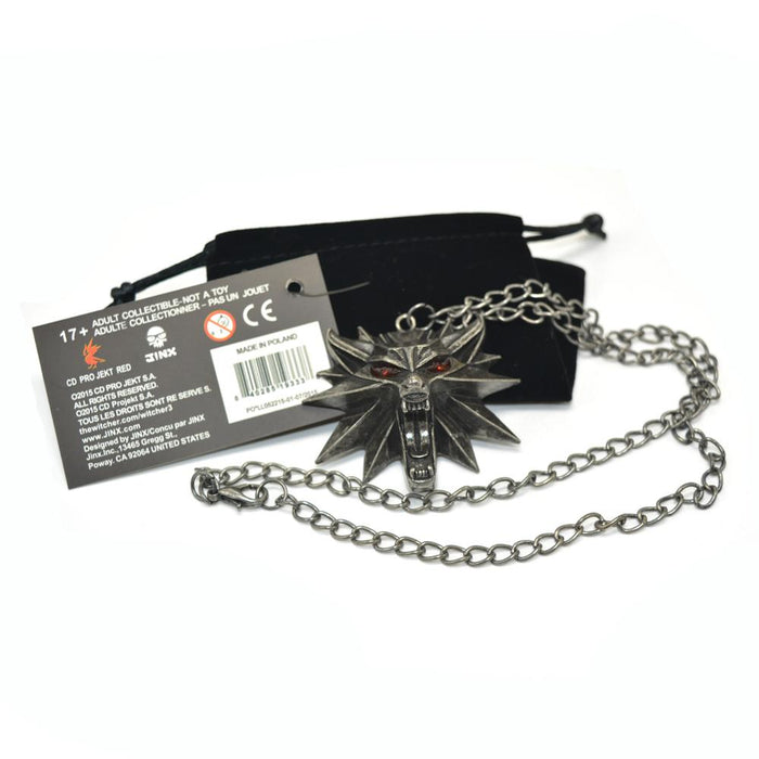 1 Bag and 1 Card The Witcher 3 Wild Hunt Medallion Pendant Chain Necklace