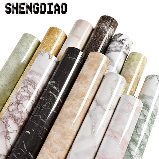 Thick Waterproof Pvc Imitation Marble Pattern Stickers Wallpaper Self Adhesive Wallpaper-Wallpapers-Shop4066010 Store-WHITE-EpicWorldStore.com