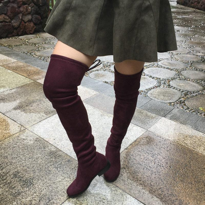 96fd817089a Thigh High Boots Female Winter Boots Women Over The Knee Boots Flat Stretch  Stylish Shoes-