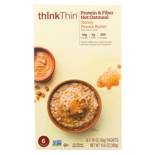Think! Thin Protein And Fiber Oatmeal - Honey Peanut Butter - Case Of 6 - 6-1.76Oz-Eco-Friendly Home & Grocery-Think! Thin-EpicWorldStore.com