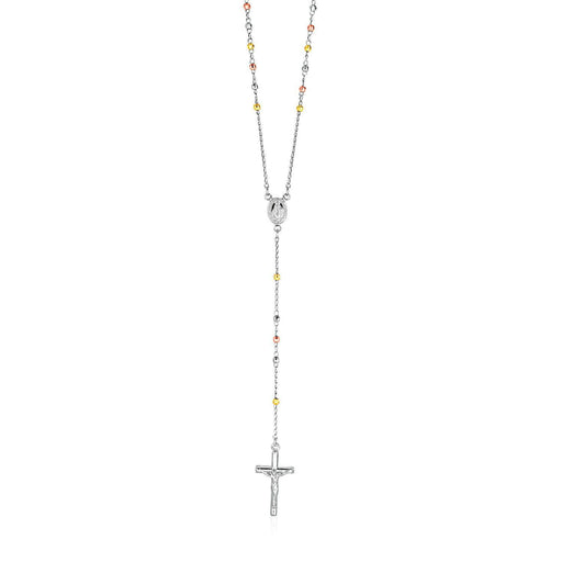 "Three Toned Rosary Chain And Bead Necklace In Sterling Silver-Jewelry-EpicWorldStore.com-26""-EpicWorldStore.com"