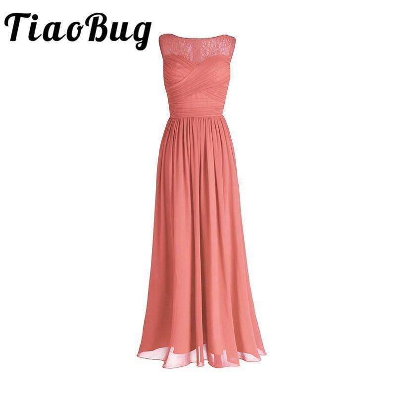 Tiaobug Coral Apricot Women Ladies Chiffon Lace Bridesmaid Dress Long Prom  Gown Plus Size Floor