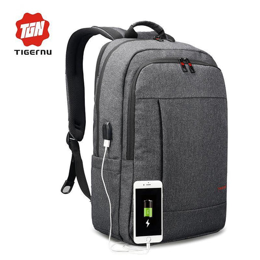 Tigernu Anti-Thief Usb Bagpack 15.6Inch Laptop Backpack For Women Men School Backpack Bag For-tigernu Store-Black grey-EpicWorldStore.com