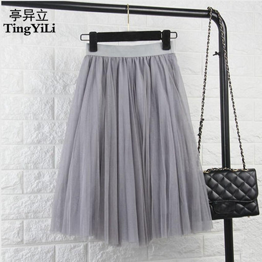 Tingyili Tulle Skirts Womens Black Gray White Adult Tulle Skirt Elastic High Waist Pleated Midi-Bottoms-TingYiLi Store-Beige-EpicWorldStore.com
