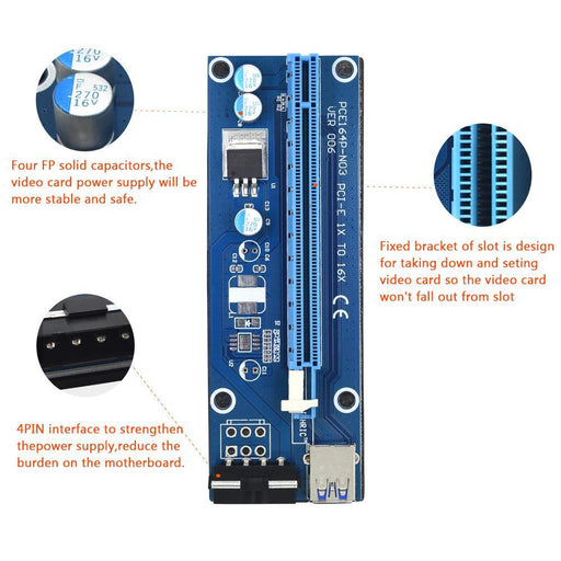 Tishric Ver006 Pci-E Extender Pci Express Riser Card 1X To 16X Usb3.0 Cable Sata To 4Pin Molex Power-Accessories & Parts-ShenZhen TISHRIC Factory Store-EpicWorldStore.com