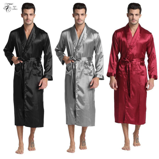 Tony&Candice Mens Silk Satin Bathrobe Robe Long Solid Silk Pajamas Men Silk Nightgown Sleepwear-Sleep & Lounge-Tony & Candice Sleepwear Store-Black-M-EpicWorldStore.com