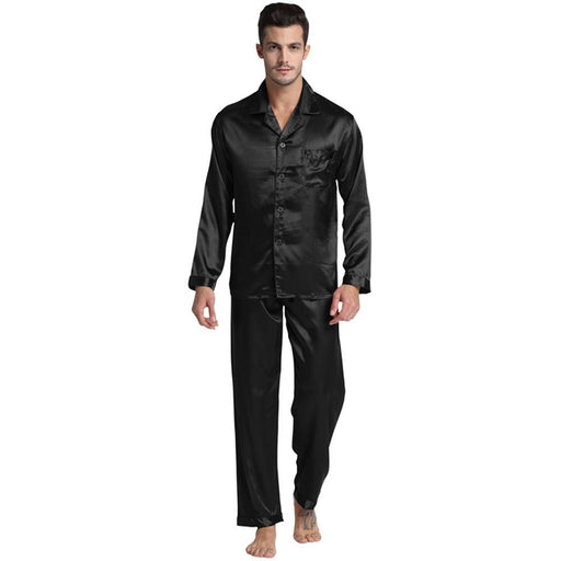 Tony&Candice Mens Stain Silk Pajama Set Pajamas Men Sleepwear Modern Style Silk Nightgown Men Satin-Sleep & Lounge-Tony & Candice Sleepwear Store-Black-M-EpicWorldStore.com