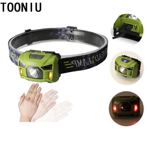 Tooniu 5W Led Body Motion Sensor Headlamp Mini Headlight Rechargeable Outdoor Camping Flashlight-Portable Lighting-Tooniu Store-Blue-EpicWorldStore.com