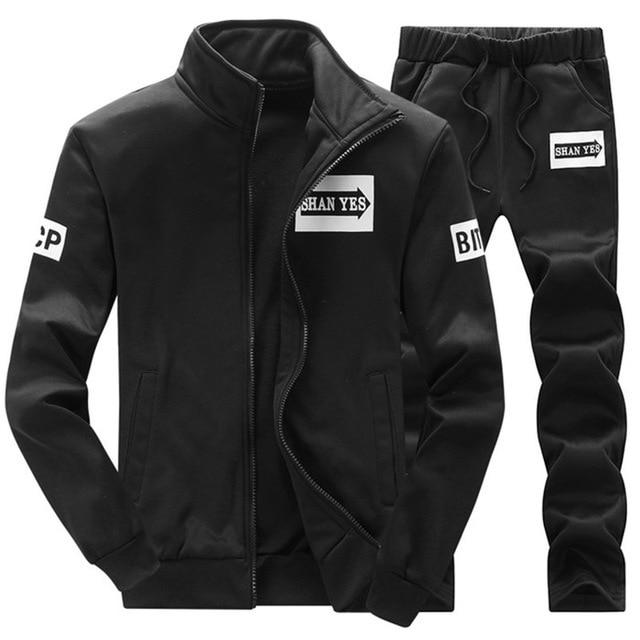 Tracksuit Mens Hoodie Fleece Sportswear Warm Tracksuits Sweat Homme Casual Men Tracksuit Sweatshirt-Men's Sets-BOOERJUE Men's Store-22 Black Suit-M-EpicWorldStore.com
