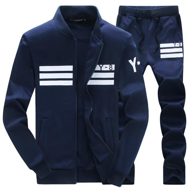 Tracksuit Mens Hoodie Fleece Sportswear Warm Tracksuits Sweat Homme Casual Men Tracksuit Sweatshirt-Men's Sets-BOOERJUE Men's Store-8 Navy Suit-M-EpicWorldStore.com