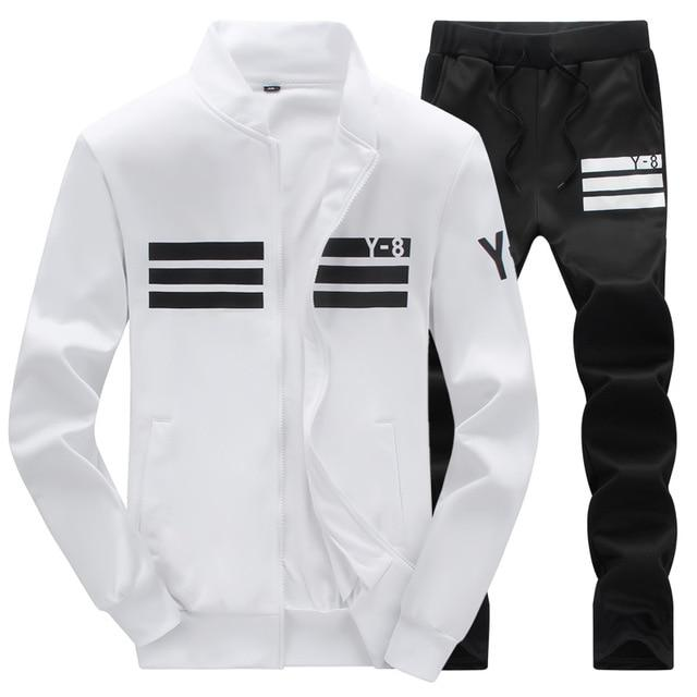 Tracksuit Mens Hoodie Fleece Sportswear Warm Tracksuits Sweat Homme Casual Men Tracksuit Sweatshirt-Men's Sets-BOOERJUE Men's Store-8 White Suit-M-EpicWorldStore.com