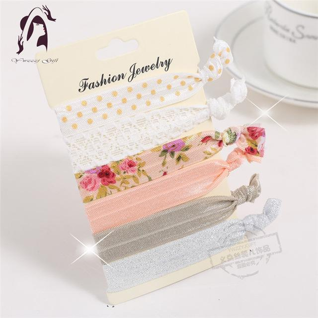 Trendy Summer Elastic Women Hair Accessories Tassel Hairband Jewelry Hand Band For Girls 5Pcs/Pack-Accessories-JUNFU Outlet Store-HB036-EpicWorldStore.com