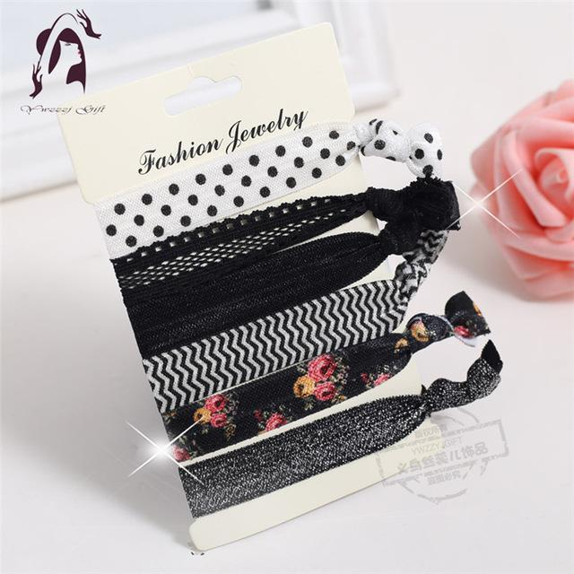 Trendy Summer Elastic Women Hair Accessories Tassel Hairband Jewelry Hand Band For Girls 5Pcs/Pack-Accessories-JUNFU Outlet Store-HB065-EpicWorldStore.com