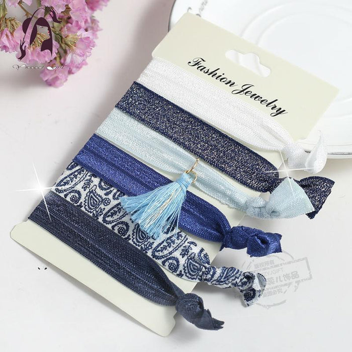 Trendy Summer Elastic Women Hair Accessories Tassel Hairband Jewelry Hand Band For Girls 5Pcs/Pack-Accessories-JUNFU Outlet Store-HB072-EpicWorldStore.com