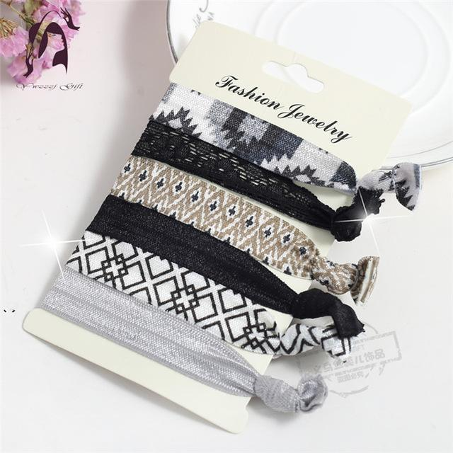 Trendy Summer Elastic Women Hair Accessories Tassel Hairband Jewelry Hand Band For Girls 5Pcs/Pack-Accessories-JUNFU Outlet Store-HB075-EpicWorldStore.com