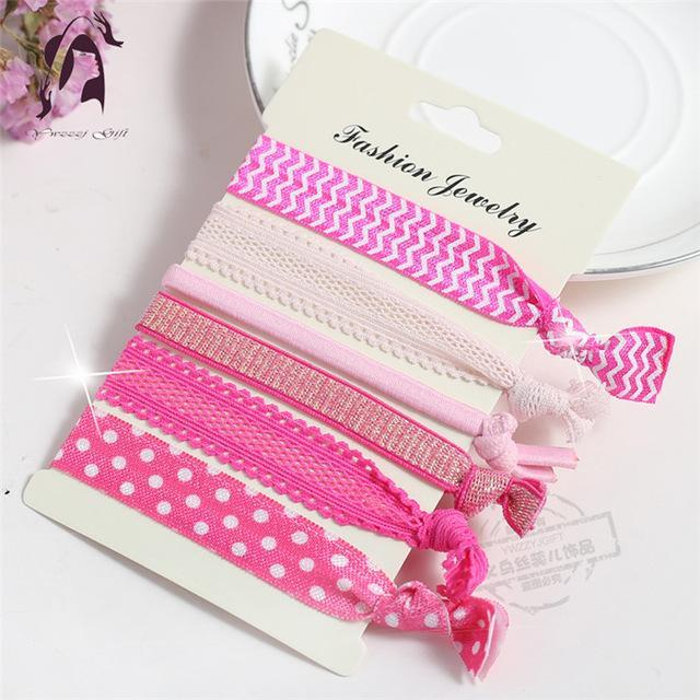Trendy Summer Elastic Women Hair Accessories Tassel Hairband Jewelry Hand Band For Girls 5Pcs/Pack-Accessories-JUNFU Outlet Store-HB077-EpicWorldStore.com