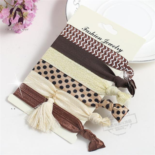 Trendy Summer Elastic Women Hair Accessories Tassel Hairband Jewelry Hand Band For Girls 5Pcs/Pack-Accessories-JUNFU Outlet Store-HB084-EpicWorldStore.com