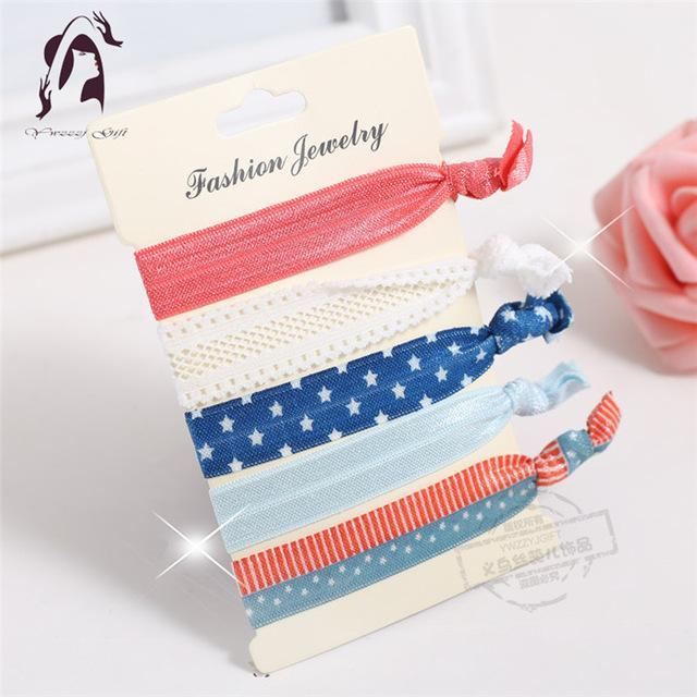 Trendy Summer Elastic Women Hair Accessories Tassel Hairband Jewelry Hand Band For Girls 5Pcs/Pack-Accessories-JUNFU Outlet Store-HB087-EpicWorldStore.com