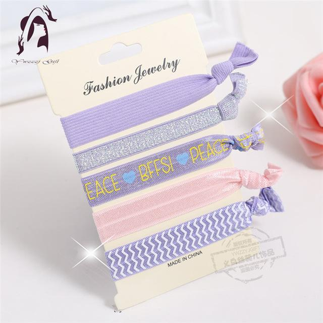 Trendy Summer Elastic Women Hair Accessories Tassel Hairband Jewelry Hand Band For Girls 5Pcs/Pack-Accessories-JUNFU Outlet Store-HB090-EpicWorldStore.com
