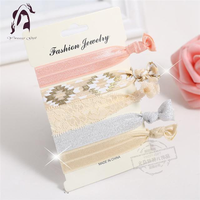 Trendy Summer Elastic Women Hair Accessories Tassel Hairband Jewelry Hand Band For Girls 5Pcs/Pack-Accessories-JUNFU Outlet Store-HB098-EpicWorldStore.com