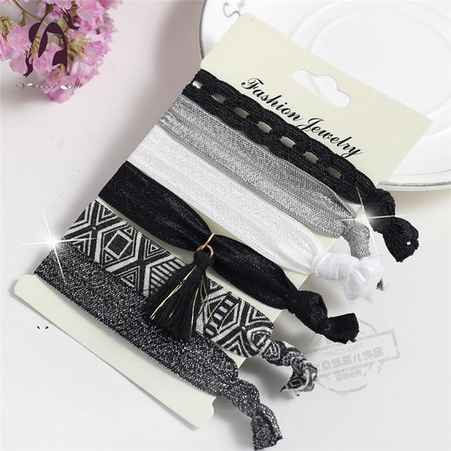 Trendy Summer Elastic Women Hair Accessories Tassel Hairband Jewelry Hand Band For Girls 5Pcs/Pack-Accessories-JUNFU Outlet Store-HB100-EpicWorldStore.com
