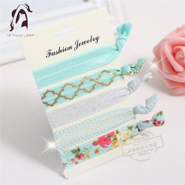 Trendy Summer Elastic Women Hair Accessories Tassel Hairband Jewelry Hand Band For Girls 5Pcs/Pack-Accessories-JUNFU Outlet Store-HB111-EpicWorldStore.com