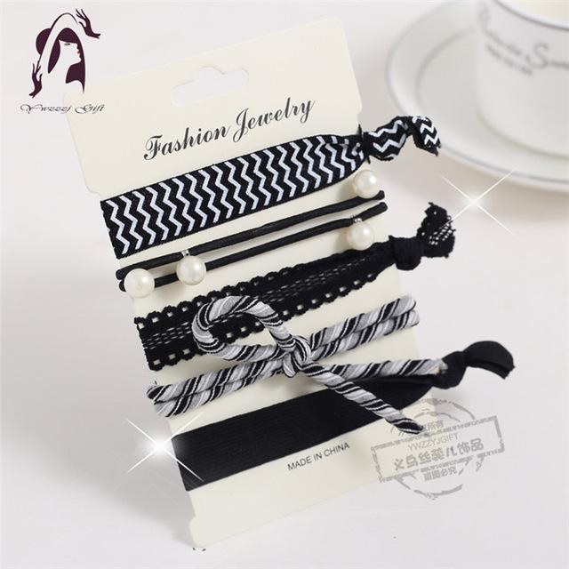 Trendy Summer Elastic Women Hair Accessories Tassel Hairband Jewelry Hand Band For Girls 5Pcs/Pack-Accessories-JUNFU Outlet Store-HB115-EpicWorldStore.com