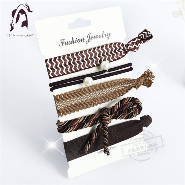 Trendy Summer Elastic Women Hair Accessories Tassel Hairband Jewelry Hand Band For Girls 5Pcs/Pack-Accessories-JUNFU Outlet Store-HB127-EpicWorldStore.com